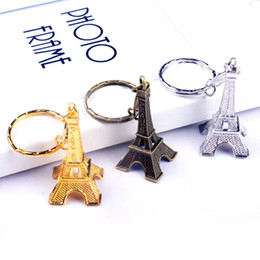 Wholesale Spiked Vintage - Vintage 3D Paris Eiffel Tower keychain French souvenir paris Keychain Keyring Key Chain Ring 500pcs free shipping