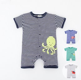 Wholesale Leotard Models - Boys Summer Romper 2016 cotton baby climb clothes stripes cartoons children leotard 4 models factory direct 8set A28