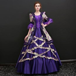 Wholesale Marie S - New Arrival Lavender Ruffles Flowers Printed Pattern Marie Antoinette Ball Gown Square Collar Half Sleeve Medieval Renaissance Peroid Dress