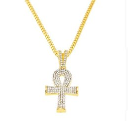 Wholesale Long Cuban Link Chain - high quality Gold color hip hop Egyptian Ankh Key cross pendant necklace with 24inch long cuban link chain for unisex jewelry