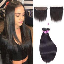 Wholesale Brazilian Virgin Stright - Ushine 13*4 Lace Frontal With Bundles Wet and Wavy Brazilian Virgin Hair Brazilian Peruvian Malaysian Stright Human Hair Weave Bundles