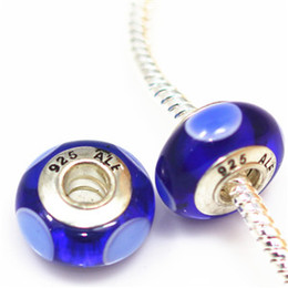 Wholesale core jewelry wholesale - 10pcs DIY jewelry accessories 925 ALE Silver plated thread core murano glass beads big hole Charms Bead For Bracelets ZHZP001