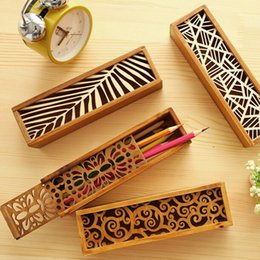 Wholesale wooden pencil cases - Cute Pencil Case Wood Lace Hollow Wooden Pencil Case Pencil Box Students Office School Supplies Fashion Gifts Prize Pencil Box Papelaria