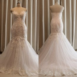 Wholesale Sweetheart Neckline Trumpet Wedding Dress - Free Shipping QUEEN BRIDAL Real Sample Tulle Lace Pearls Sweetheart Neckline Mermaid Wedding Dresses Custom Size ZQ2