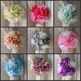 Wholesale Wholesale Wedding Backgrounds - Artificial Hydrangea Flowers Craft Background Gauze Curtain Clip Bouquets For Wedding Backdrop Decoration Accessories 10 color