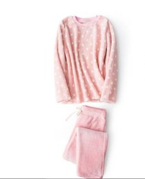 Wholesale flannel pajamas sets - 2017 winter velvet thicken home clothing set coral velvet flannel plush wave point male and female couple soft pajamas