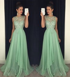 Wholesale Bodice Dress Mint - 2018 Mint Green Prom Dresses Sheer Jewel Neck Sweep Train Crystal Beaded Illusion Bodice Chiffon Long Party Celebrity Graduation Gowns