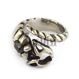 Wholesale Wholesale Hematite Rings - Scorpion Ring With Black Hematite Stone Unique Casting Ring In Stainless Steel New Punk Rock Ring For Mens