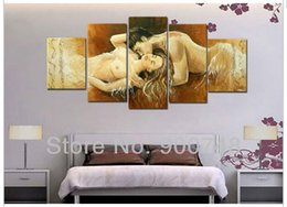 Wholesale Nude Sex Paint Art - New Design Handpainted Oil Painting On Canvas 5 Panels Sex Nude Lovers Love Bedroom Decoration Wall Art