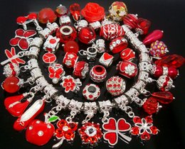 Wholesale Zodiac Coins - 50pcs Lot mixed Red Charms Pendants Beads for Jewelry Making Loose Charms DIY Big Hole Pendant Beads for European Bracelet Wholesale in Bulk