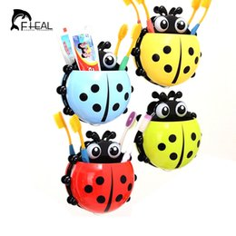 Home Improvement Bathroom Shelves 1pc Cute Novelty Ladybug Toothbrush Holder Toiletries Toothpaste Holder Bathroom Sets Suction Tooth Brush Container