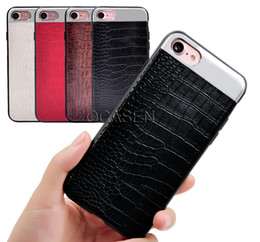 Wholesale Design Back Smart Cover - Unique Design Luxury Ultra-thin Crocodile PU Leather TPU Silicone Rubber Metal Hard Back Smart Cover Case for iPhone 7 7 Plus Free Shipping