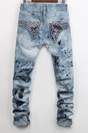 Wholesale Flap Pocket Pants - Robins New Men's Robin Jeans Biker Jeans Denim Pants with Crystal Studs Flap Pockets Gold Wings Clip Washed Designer Cowboy Jeans 20083