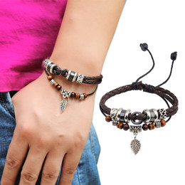 Wholesale Brown Leather Infinity Bracelet - Infinity Bracelets Brown Genuine Leather Bracelet Men's Bangle Stainless Steel Fashion Retro Anchor Charm Jewelry For Women Leather Bracelet