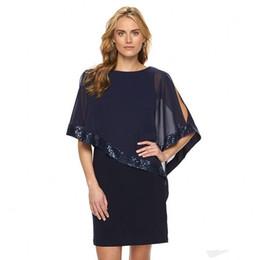 8665369a8d Modest little black cocktail dresses for women with chiffon wrap sequins  short mini prom party gowns