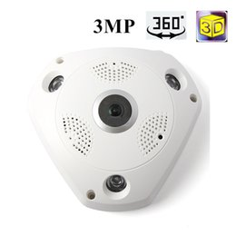 Wholesale Ip Cam Wifi Micro Sd - 360 Camera IP 3MP Fish Eye Panoramic 1080P WIFI PTZ CCTV 3D VR Video IP Kamera Cam Micro SD Card Audio Remote Home Monitoring