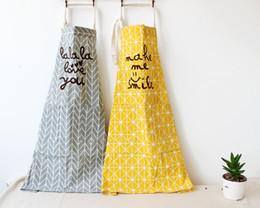 Wholesale Wholesale Linen Clothing Women - Two Colors Cotton Linen Geometric Sleeveless Apron Home Baking Kitchen Coffee Shop Men And Women Work Clothes Antifouling Apron