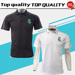 Wholesale Football Soccer Sports - New Real Madrid polo Home white Soccer Jersey 17 18 CR7 Away black soccer polo 2018 Ronaldo Football uniforms sport polo