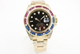 Wholesale Mens Golden Wrist Watches - HOT new Luxury Brand Black Dial Golden Stainless Belt Whatches Blue and Red Diamond Irab Bezel Watch Mens Fashion Wrist Watches