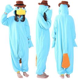 SS Cosplay Anime Blu Platypus Easter Onesie Costumi di Halloween Adulto Donna Uomo Pigiama Tuta di Natale Pagliaccetto in pile da pigiami a pelo blu fornitori
