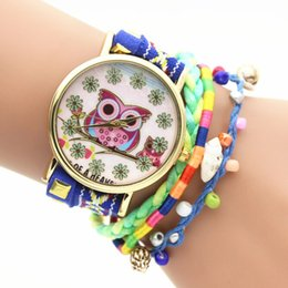 Wholesale Lovely Cat Wrist Quartz Watch - Lovely owl cat pattern watch colorful handmade bracelet watches women leather rope weave wristwatch dress quartz wrist watches