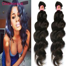 Wholesale Virgin Russian Hair Bundles - Glamorous Brazilian Hair Weave Natural Wave 100% Unprocessed Brazilian Virgin Hair 2 Bundles Peruvian Malaysian Indian Human Hair Extensions