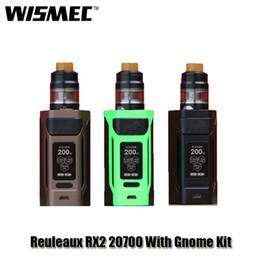 Wholesale Green Heads - 100% Original Wismec Reuleaux RX2 20700 With Gnome Full Kit 200W VW TC Box Mod 2 4ml Tank WM02 Dual 0.15ohm Head