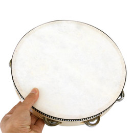 "Wholesale Wholesale Drum Kits - Wholesale-10"" Musical Tambourine Tamborine Drum Round Percussion Gift for KTV Party drumhead"