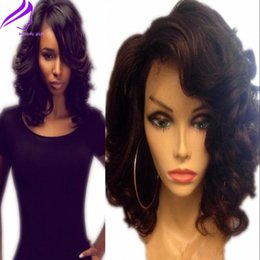 Wholesale Short Wigs For Women Blonde - Fantasy Wavy Bob Short Wig Wholeasle Brazilian Hair Synthetic Lace Front Wigs with bangs Body Wave Wig Heat Resistant Fiber Wig For Women