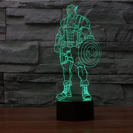Spedizione gratuita 2016 New Cool 3D Bulbing Capitan America 3 Civil War Micro USB LED Lampada da tavolo Night Light 3077 cheap captain america lamp da lampada capitano america fornitori
