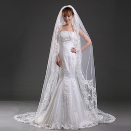 Wholesale 3m Accessories - Vintage Ivory White Lace Bridal Wedding Veil 2016 Cheap One Layer Tulle Appliques 3M Length Bridal Accessories Bridal Veil Cheap Free Shippi