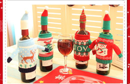 Wholesale Christmas Elf Clothes - 2PCS Christmas Elf Red Wine Bottle Sets Cover with Christmas Hat and Clothes for Christmas Dinner Decoration Home Halloween Gift 4 Styles