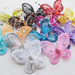 Wholesale Organza Rhinestone Butterflies - 10Pcs Mixed Organza Wire Rhinestone Butterfly Wedding Decorations For Scrapbook Home Decor Party Accessories