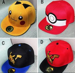 Wholesale Anime Pikachu Hat - 2017 Anime Poke Monster Cosplay Cap Black yellow Novelty cartoon Pikachu Poke Go Hat charms Costume Props Baseball cap