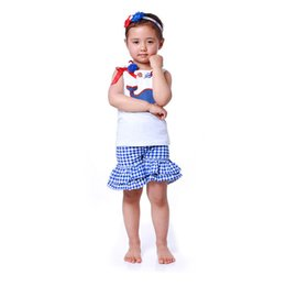 Wholesale Double Ruffled Shorts - Little Girls Baby Clothes ,Sleeveless Top Double Ruffle Plaid Short Girls clothing set ,4th Of July girls boutique outfits