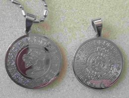 Wholesale Aztec Calendar Coin - American Mexico Fashion 316L Stainless Steel Mayan Coin Prophecy Commemorative Coin Aztec Calendar Metal Pendant,Free Chain