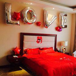 "Wholesale Flower Balloon Bouquet - Hot Sale 26pcs set Alphabet Wedding Party Birthday Christmas Party Silver Foil 16"" Balloons Foil Letters A-Z"