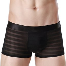 Wholesale Transparent Lace Boxer Shorts - Poland Popular 2017 Fashion Vogue Men Underwear Boxers Shorts Brand Design Male Waistband Sexy Low-waist Male Transparent Gay Underpant