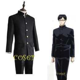 Anime menino uniforme on-line-Atacado-coser anime japonês sakamoto desu ga sakamoto papel traje cosplay roupas casaco calças menino uniforme escola terno