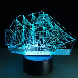 Wholesale Christmas Tree Lights Battery - Hot 3D Boat Illusion Lamp 3D LED Light 7 RGB Lights DC 5V USB Powered AA Battery Powered Wholesale Drop Shipping Special Offer