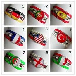 Wholesale chain link images - 24pcs lot Country Flag Images Fashion Bracelets U.S.A ,England,Spain,Germany,France,Portugal,Italy,Turkey,Algeria Glass Gem Bracelet