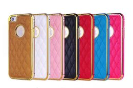 Wholesale Iphone Case Sheepskin - Sheepskin Grid Pattern PU Leather Case For iPhone 6 Plus Gold Plating Chromed Frame Slim Cover For iPhone 6 Plus