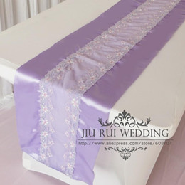 Wholesale Purple Table Runners Wholesale - One Piece Free Shipping Fashion Purple lilac Flower Lace And Double Stain Table Runner 35*250cm For Wedding Decoration