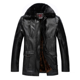 Wholesale Middle Age Men Jacket - Fall-Middle-aged Men's Fashion Design Classic Temperament Mens Leather Jackets And Fleece Warm Outdoor Wind Leather Jacket Fur Men