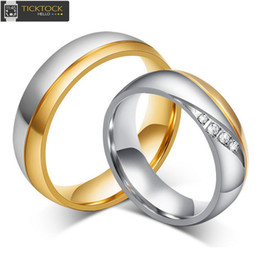 Wholesale Valentine Gifts For Couples - Titanium Couples Rings for Men Women Gold Wedding Bands Engagement Anniversary Lovers His and Hers Promise Valentine Gift,Rhinestone diamond