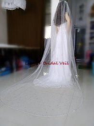 Wholesale Elegant Wedding Shawls - Real Pictures New Elegant Long 3m 1 Layer White Ivory Wedding Veils Bridal Cathedral Veil Shawl With Comb Tulle Beaded Floor Length Crystals