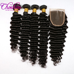 Wholesale Brazilian Hair Salon - Choshim Deep Wave Remy Human Hair 3 Bundles With Lace Closure Natural Color For Hair Salon High Ratio Longest Hair PCT 15%