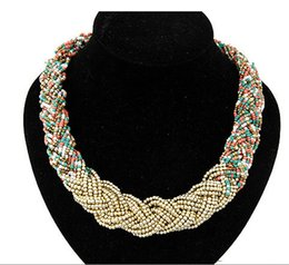 Wholesale Rice Bead Necklaces - European Summer Woman Bohemian Necklace Gold Alloy Pearl Rice Beads Collar Necklace Maxi Multilayer Jewelry Accessories Bijoux