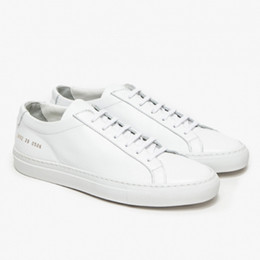 Wholesale handmade women shoes - Original Common Projects Shoes Women Men Spring Handmade White Genuine Leather Sheepskin Casual Shoes Scarpe Donna Femme Mujeres