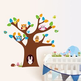 Wholesale Owls Removable Wall Art - free shipping 1 PCS Home Wall Removable Stickers Owls Kids Decals Art Decor 30 x90cm #92536